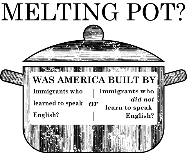 Melting Pot? - Was America Built By (A) Immigrants who learned to speak English? Or, (B) Immigrants who did not learn to speak English?