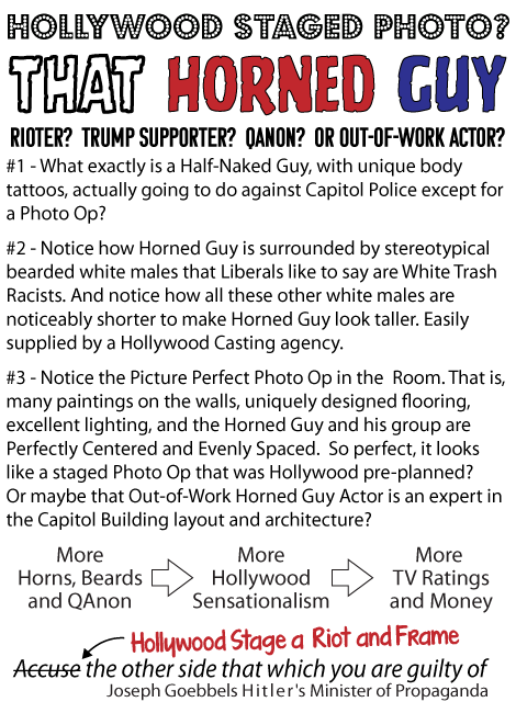 Hollywood Staged Photo? That Horned Guy Rioter? Trump Supporter? QAnon? Or Out-of-work Actor?