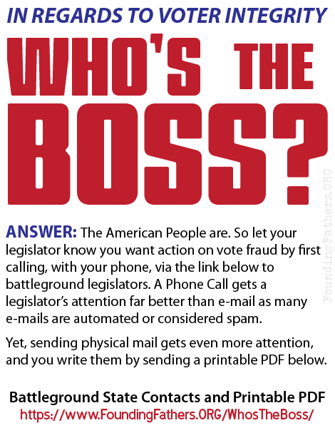 In regards to Voter Integrity,  Who's the boss?