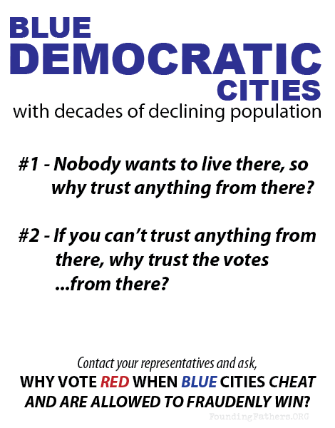 Blue Democratic Cities - Nobody wants to live there, Hence, why trust votes from there?
