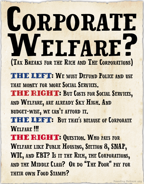 Corporate Welfare (Tax Breaks for the Rich and The Corporations)